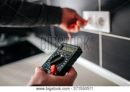 Electrician, Electrician Installing New Current Socket With Screwdriver. Installing Electrical Outle