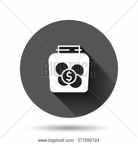 Money Box Icon In Flat Style. Coin Jar Container Vector Illustration On Black Round Background With
