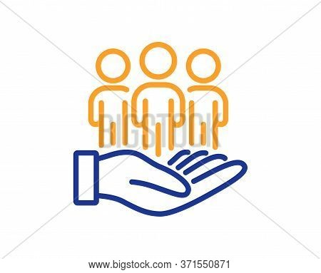 Best Buyers Line Icon. Customers Group Sign. Care Of Clients Symbol. Colorful Thin Line Outline Conc