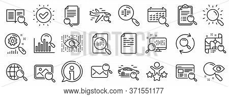 Photo Indexation, Artificial Intelligence, Car Rental Icons. Search Line Icons. Airplane Flights, We