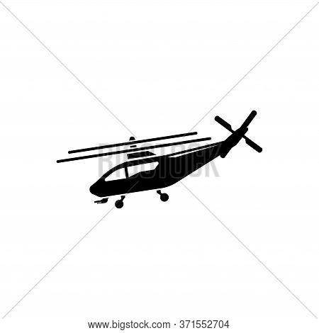 Helicopter, Fly Transport, Aviation. Flat Vector Icon Illustration. Simple Black Symbol On White Bac