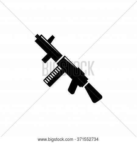 Submachine Gun, Police And Army Weapon. Flat Vector Icon Illustration. Simple Black Symbol On White