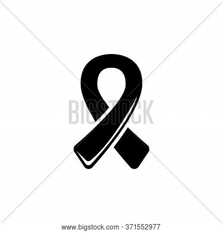 Aids Awareness Ribbon, World Breast Cancer Day. Flat Vector Icon Illustration. Simple Black Symbol O