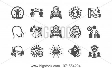 Coronavirus Icons Set. Washing Hands Hygiene, Medical Protective Mask, Eu Shut Borders. Stay Home, S