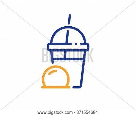 Ice Cream Milkshake Line Icon. Vanilla Sundae Sign. Frozen Summer Dessert Symbol. Colorful Thin Line