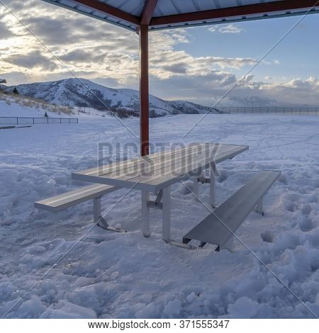Square Crop Small Pavilion With A Single Picnic Table With Seats With Wasatch Mountain View