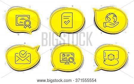 Approved Mail Sign. Diploma Certificate, Save Planet Chat Bubbles. Augmented Reality, Seo Analytics