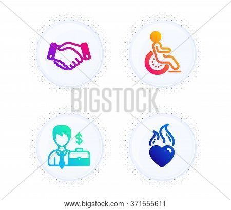 Businessman Case, Disability And Employees Handshake Icons Simple Set. Button With Halftone Dots. He
