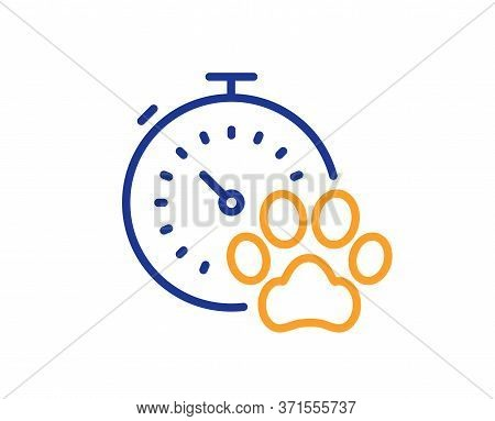 Dog Competition Line Icon. Pets Timer Sign. Activities Results Symbol. Colorful Thin Line Outline Co