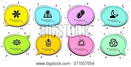Sunset, Night Weather And Sun Energy Signs. Chat Bubbles With Quotes. Gluten Free, Peanut And Snowfl