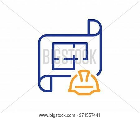 Engineering Plan Line Icon. Technical Documentation Sign. Construction Helmet Symbol. Colorful Thin