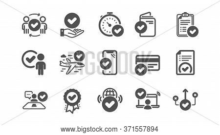Approve Icons Set. Accepted Document, Right Choice, Interviewed. Quality Check, Protection, Checklis