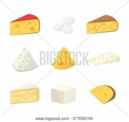 Pieces Of Cheese Isolated On White. Popular Kind Of Cheese Icons. Different Fresh Cheesy Dairy Produ
