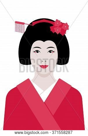 Geisha. Vector Portrait Of A Japanese Woman In Kimono.