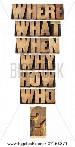 who, what, where, when, why, how questions  - brainstorming or decision making concept - a collage of isolated words in vintage letterpress wood type