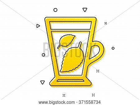 Fresh Herbal Beverage Sign. Mint Tea Icon. Mentha Leaves Symbol. Yellow Circles Pattern. Classic Min