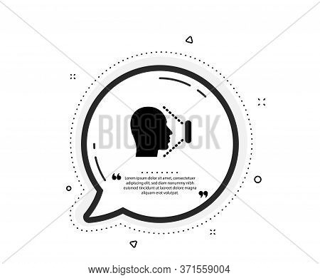 Face Scanning Icon. Quote Speech Bubble. Phone Face Id Sign. Head Identification Symbol. Quotation M