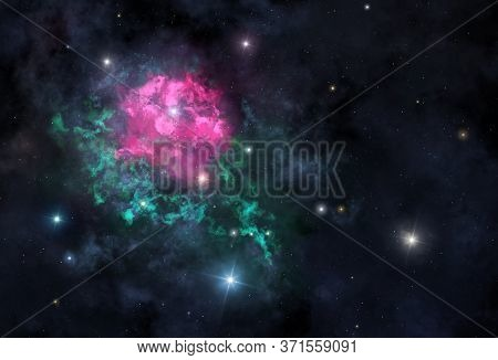 Illustration Of The Rose-shaped Cosmic Nebula With Copyspace
