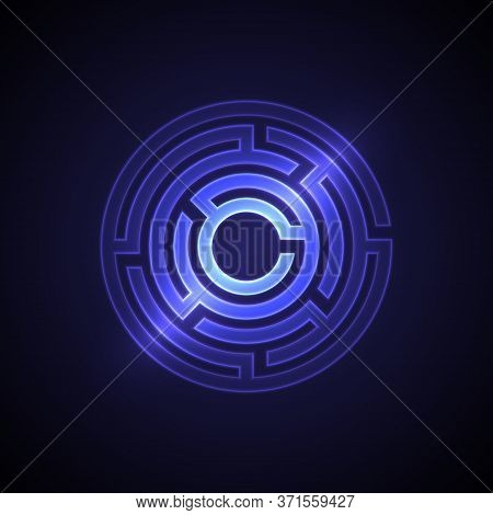 Abstract Maze Background With Glowing Light. Labyrinths In Shape Of Circle. Modern Design Of Mystery