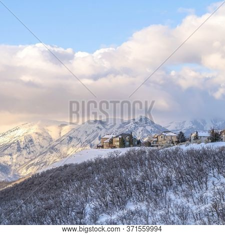 Square Picturesque Wasatch Mountains View With Houses On A Snowy Setting In Winter