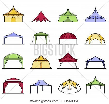 Canopy Icon Set. Outline Set Of Canopy Vector Icons Thin Line Color Flat Isolated On White