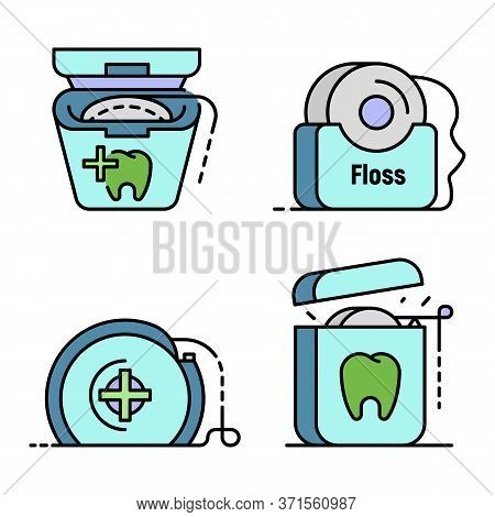 Floss Dental Icon Set. Outline Set Of Floss Dental Vector Icons Thin Line Color Flat Isolated On Whi
