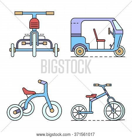 Tricycle Icon Set. Outline Set Of Tricycle Vector Icons Thin Line Color Flat Isolated On White