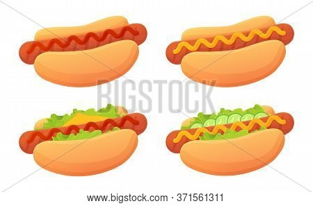 Cartoon Hot Dog Set. Bun, Sausag, Ketchup, Mustard Sause, Garnish Such As Cheese, Lettuce. Street Fo
