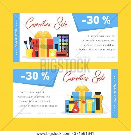 Cosmetics Sale Flyers Set. Woman Shop Discount. Girl Things Icons Decorative Cosmetics, Face And Bod