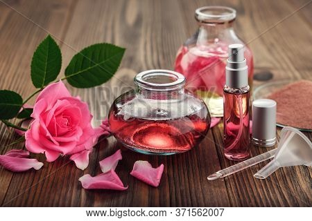 Rose Flower, Infused Water And Essential Oil Or Rose Blend Bottle, Flavored Water In A Spray Bottle,