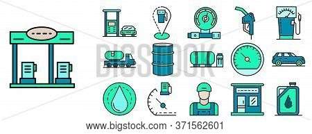 Petrol Station Icon Set. Outline Set Of Petrol Station Vector Icons Thin Line Color Flat Isolated On