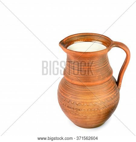 Clay Jug With Fresh Milk Isolated On White Background. Healthy Food. Free Space For Text.
