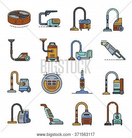 Vacuum Cleaner Icons Set. Outline Set Of Vacuum Cleaner Vector Icons Thin Line Color Flat Isolated O