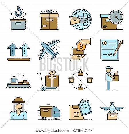 Parcel Delivery Icons Set. Outline Set Of Parcel Delivery Vector Icons Thin Line Color Flat Isolated