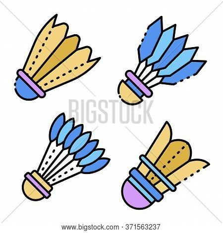 Shuttlecock Icons Set. Outline Set Of Shuttlecock Vector Icons Thin Line Color Flat Isolated On Whit