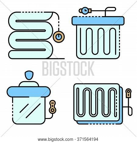 Electric Blanket Icons Set. Outline Set Of Electric Blanket Vector Icons Thin Line Color Flat Isolat
