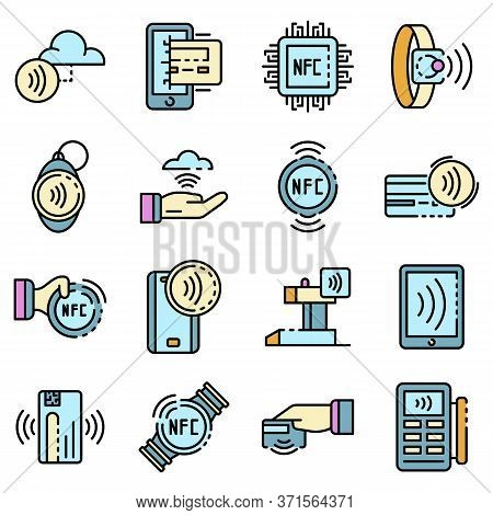 Nfc Technology Icons Set. Outline Set Of Nfc Technology Vector Icons Thin Line Color Flat Isolated O