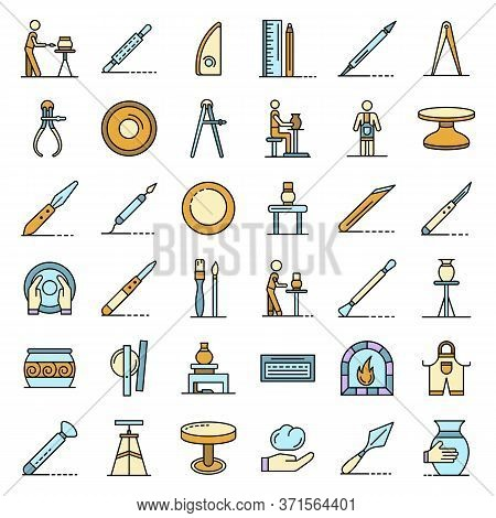 Potters Wheel Icons Set. Outline Set Of Potters Wheel Vector Icons Thin Line Color Flat Isolated On