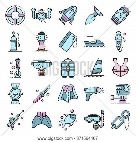 Snorkeling Equipment Icons Set. Outline Set Of Snorkeling Equipment Vector Icons Thin Line Color Fla
