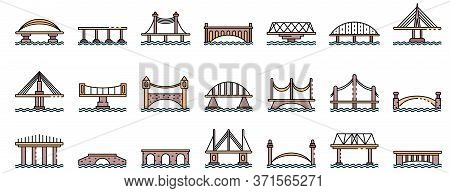 Bridges Icons Set. Outline Set Of Bridges Vector Icons Thin Line Color Flat Isolated On White