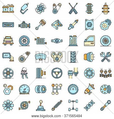 Car Parts Icons Set. Outline Set Of Car Parts Vector Icons Thin Line Color Flat Isolated On White