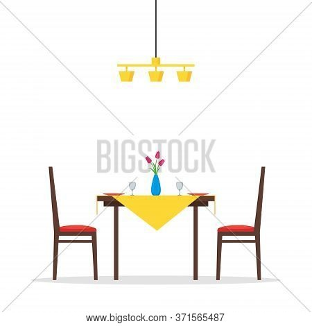 Dining Table And Chairs For Two People. Vase With Flowers, Plates And Two Glasses. Romantic Morning