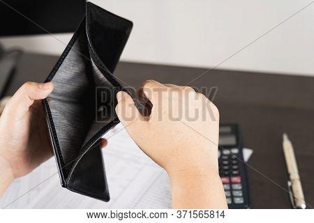 Poor Asian Man Hand Open Empty Wallet Looking For Money Having Problem Bankrupt Broke After Credit C