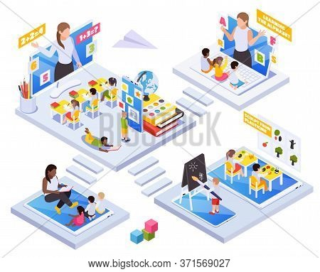 Kindergarten Kids Learning Remotely Isometric Concept With Online Classroom Activities Teacher Readi