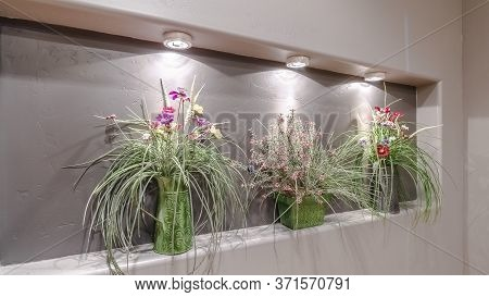 Panorama Flower Arrangements In A Recessed Alcove Interior