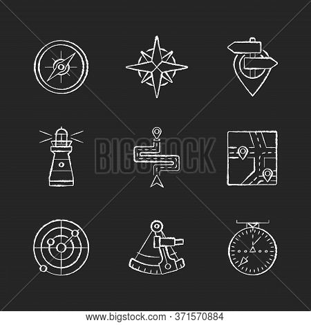 Navigation Chalk White Icons Set On Black Background. Geographical Location Positioning, Cartography