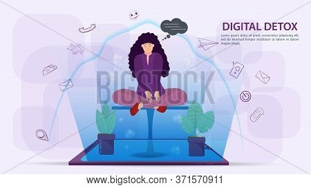 Digital Detoxification, Banner Concept For Web And Mobile Sites, Girl Sitting In The Lotus Position,