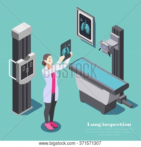 Lung Inspection Composition With Xray Examining Symbols Isometric Vector Illustration