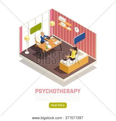 Individual Counseling Psychotherapy Treatment Isometric Homepage Design With Psychologist Works Conf