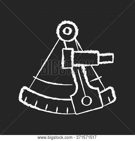 Sextant Chalk White Icon On Black Background. Celestial Navigation, Geography. Old Fashioned Instrum